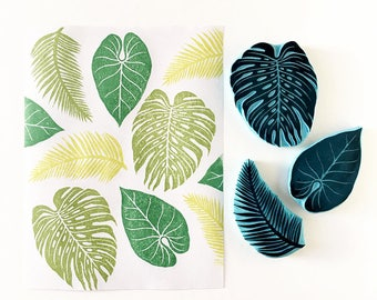 Tropical Leaf Stamps. Set of 3 Stamps. Hand Carved Stamps. Monstera Leaf. Palm Tree Leaf. Summer Decor. Handmade