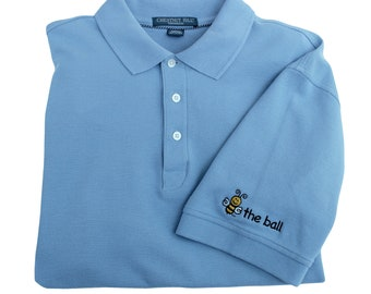 Fathers Day Gift | Embroidered BEE THE BALL | Left Sleeve Embroidery | Slate Blue | Medium and Large | Golf Shirt for Men | Polo