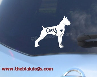 Boxer Silhouette Vinyl Sticker - personalized Car Decal