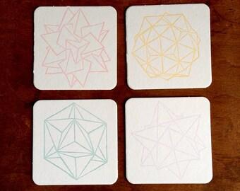 Letterpress Coasters • Geometric Design • Set of 8 Polyhedra Themed Drink Coasters