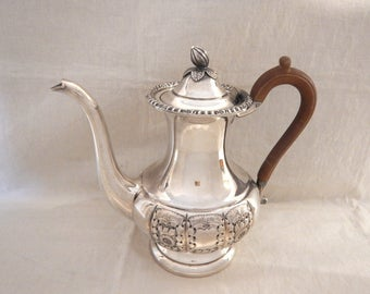 Sheffield Reproductions Hand Chased Silverplate Ornate Teapot Coffee Pot Wooden Handle