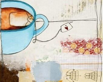 Art - Tea Art - Tea Art Print - Art for Kitchen - Gift for Tea Drinker - Cafe Art - Print of Painting - Tea Print of Painting - Tea Love