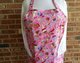 Plus Size Women's Apron, Sweet Treats Apron, Pocket Apron, Kitchen Apron, Bib Apron, Pink Apron, Ice Cream Apron