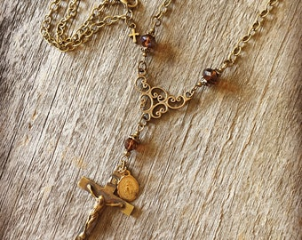 Bronze Necklace w/ Antique Crucifix and Vintage Miraculous Medal Catholic Jewelry and Catholic Gifts