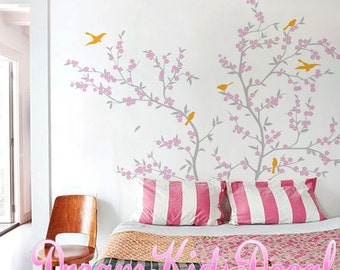 Wall Decal Cherry Blossom Tree Branch Wall Decals with Birds, Decal for baby room Nursery, Vinyl Wall Stickers Art-DK082