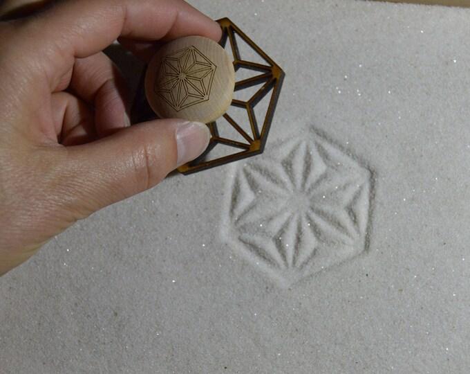 Sand Stamp, Hexagon Star Design, Zen Garden Stamp