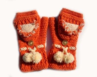 Convertible gloves, mittens, arm warmers, crochet orange fingerless gloves.