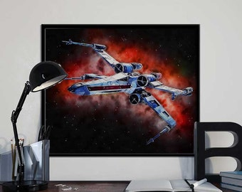 X-Wing Star Wars Art Print Poster - Episode VII The Force Awakens PRINTABLE 8x10 inches - Ideal Last Minute Gift