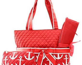 Anchor Print Monogrammed Diaper Bag Red and White