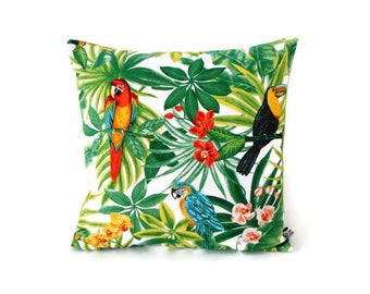 Cushion cover 35 x 35 cm, exotic fabric, tropical, parrots, toucans, leaves, flowers, plain green back ground anise, decoration