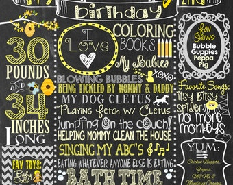 Little Bumble Bee birthday chalkboard, bumblebee themed party decoration, 2nd bee day, happy bee day custom chalkboard! FREE 8x10 yellow
