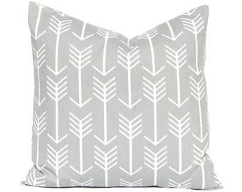 Gray Arrow Pillow Covers - Gray and White Twill Pillow Covers - Gray Cushion Covers - Grey Pillows - Tribal Pillow Cover - Gray Nursery