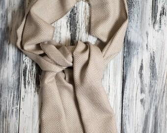 Baby Alpaca Scarf, Herringbone Patterned Scarf, Soft Scarf, Warm Scarf, Oatmeal Scarf