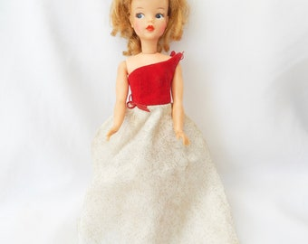 Authentic Vintage Ideal Tammy Doll With Red & White Beauty Queen Gown