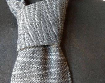 Handmade, Handwoven Grey/Charcoal/Navy Necktie