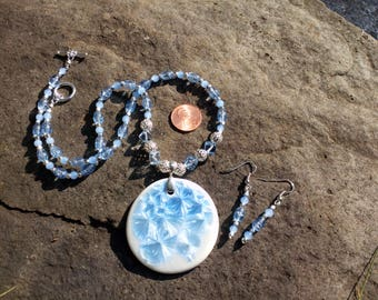 Silver and Light  Blue Necklace and Earrings