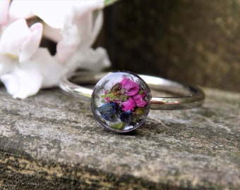 Real Flower Ring, Stainless Steel, Floral Jewelry, Jewellery, Dainty Ring, Ring Bezel, Cup Ring, Boho, Bohemian, Nature, Terrarium, Hippie