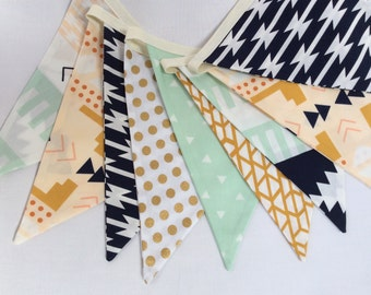 Boy's Version of Our Arizona Fabric Bunting Flag Banner, Garland Bunting. Mint, Navy, Beige, Designer Fabrics, Weddings, Birthdays Decor