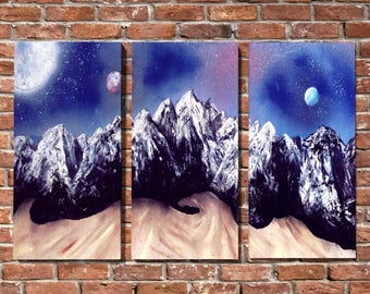 Incredible Universe Mountain Range triptych Spray Painting Onto Canvas - Mountain Painting - Painted Canvas - Space Painting - Painting