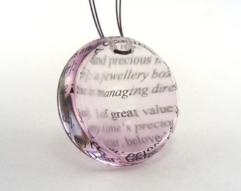 Pendant Pale Pink, Round with Black Optical text pattern
