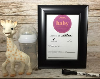 Baby Feeding and Activity Tracker - Dry Erase - Gender Neutral Baby Gift - Tabletop and Magnetic - Magnetic Dry Erase Marker Included