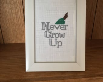 Peter Pan Quote Cross Stitch (Completed) / Disney Cross Stitch / Custom Made / Framed Art
