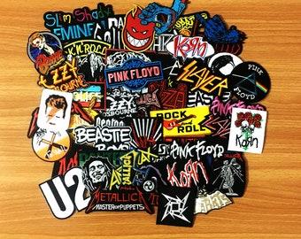 50 pcs. RANDOM Wholesale Embroidered Iron On Patch Music Rock Punk Band Music Heavy, Wholesale Mixed sizes Random, Music Rock Punk
