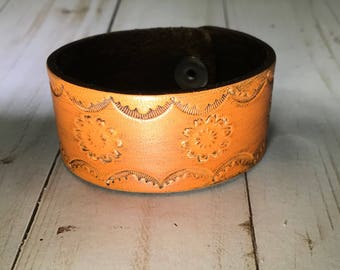 Hand Stamped Distressed Leather Cuff, Boho, Leather Bracelet Rustic, Gift for Her, Wristband Braclet