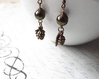 Pine cone and leaf charms pearl earrings in antique brass