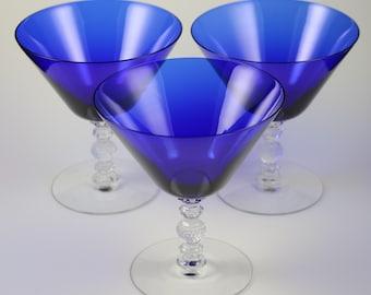 Set of 3, Cambridge, Line No. 3122, Royal Blue, Saucer Champagnes