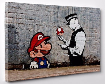 Banksy Super Mario and Policeman Canvas Print Steet Art Framed Ready To Hang