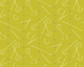 Andover Alison Glass 76 Fabric, Numbered in Grasshopper, Sold by the Half Yard, Olive Green Fabric, Compass Fabric, Stars Fabric