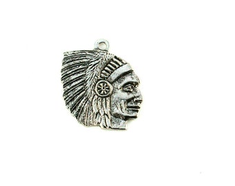 Qty. 4 Indian Head Charms - 15mm
