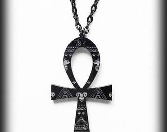 Black Ankh Necklace, Engraved Gothic Vampire Ankh Pendant, Gothic Gift For Her, Handmade Alternative Gothic Jewelry, Vampire Egyptian