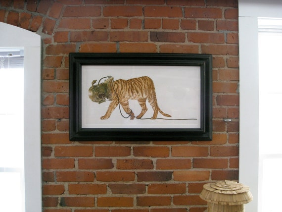 """Liger  Tiger in Scuba Helmet Print large 30""""x14"""" fine art painting watercolor and ink"""