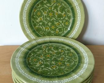 5 vintage green floral melmac snack plates
