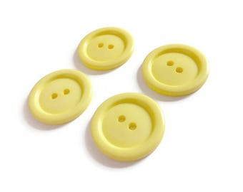 Yellow plastic sewing buttons - set of 4 vintage craft buttons 29mm