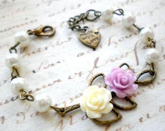 Flower Girl Bracelet Wedding Pastel Jewelry Will You Be My Flower Girl Floral Bouquet Bracelet Baby Girl Bracelet Junior Bridesmaid