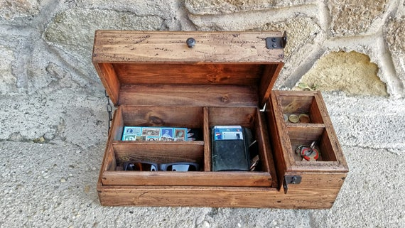 mans valet box wooden watch box rustic jewelry box