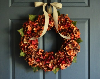 Autumn Wreath | Blended Hydrangea Wreath | Fall Wreaths | Front Door Wreaths | Outdoor Wreaths | Hydrangea Wreaths