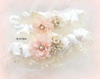 Wedding Garter Belt Set Ivory Blush Pink Champagne Toss Garter Bridal Garter Elegant Vintage Set with Pearls