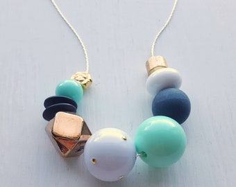 franklin mint necklace - vintage remixed lucite - gold mint green black - metallic chunky necklace