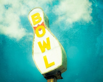 Bowling Sign, Fine Art Photography, Bowling Decor, Still Life Photo, Fine Art Print, Mid Century, Wall Art, Yellow, Boys Room, Gift for him