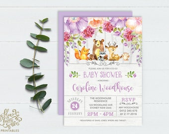 Woodland Girl Baby Shower Invitation. Purple Floral Baby Invite. Violet Grey Forest Animals Printable Invitation. Fox Deer Raccoon Owl. PUR4
