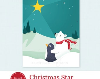"Printable Christmas Card - Christmas Star Printable Holiday Card - Polar Bear Penguin Printable Christmas Card PDF - 4.25"" x 5.5"""