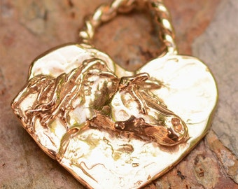 Gold Bronze Horse on a Heart Pendant or Big Charm