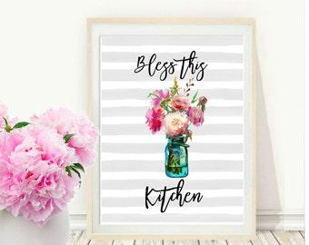 Bless This Kitchen, Printable Art, Kitchen Decor, Mason Jar, Kitchen Quotes, Home Decor, Instant Download