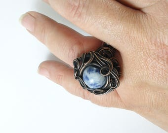 Copper wire ring Sodalite ring wire wrapped ring blue ring rich blue ring wire wrapped jewelry statement ring unique blue ring handmade ring