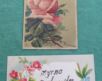 Two antique embossed postcards roses glitter