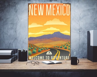 New Mexico, Welcome to adventure, Metal print art, New Mexico sign, Metal sign, New Mexico Wall art, Metal wall art, Print on metal, Sign